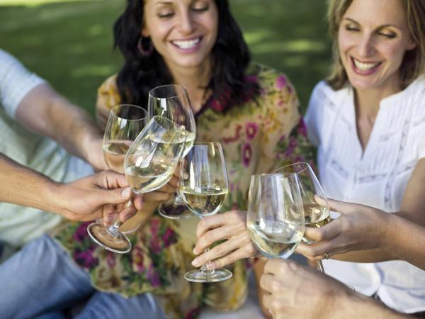 friemds with white wine