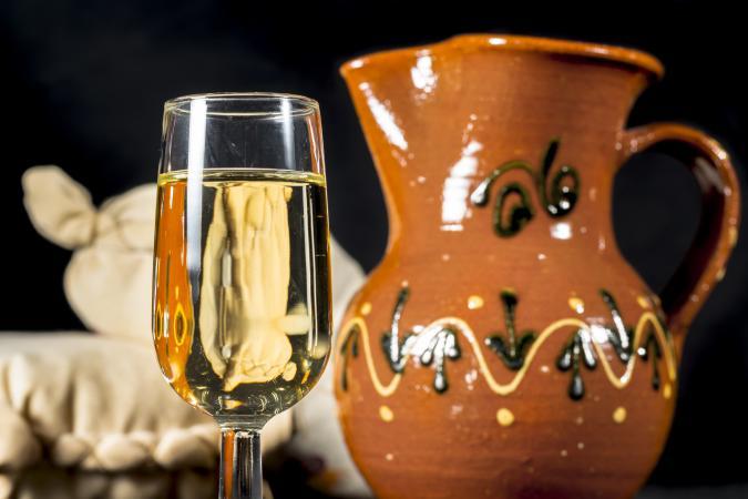 Glass of Manzanilla wine