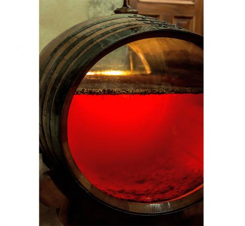 Old sherry barrel with glassfront