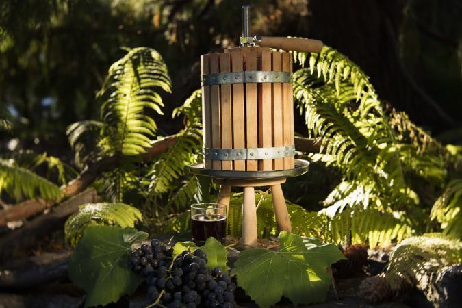 Basket grape press
