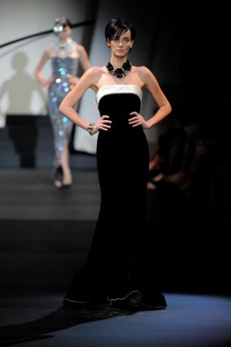 Classy Georgio and Emporio Armani Fashion for Women with Black Dress in Winter