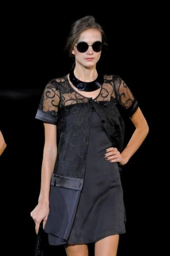 Trendy Emporio Armani Fashion with Little Black Dress for Women at The Show