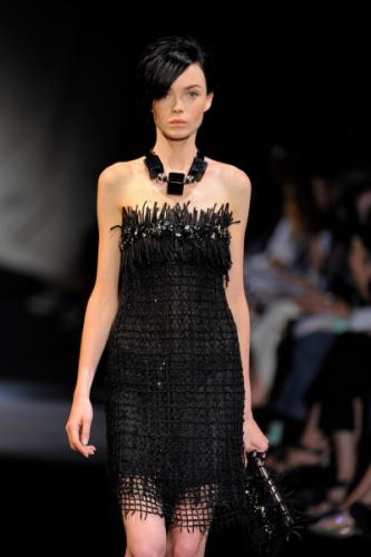 Beauty Georgia Armani Fashion with Basic Black Dress for Women at The Show in New Year