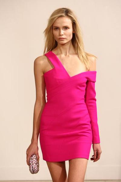 one shoulder dress hot pink « Bella Forte Glass Studio