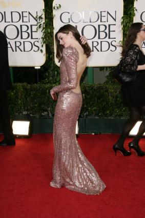 Anne Hathaway in a backless dress