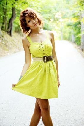 yellow belted casual dress