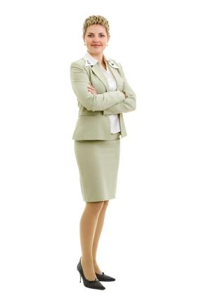 light colored skirt suit on hour glass figure