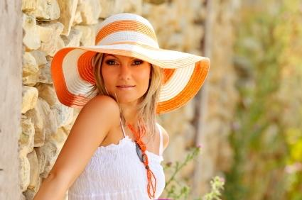 fashionable woman in summer hat