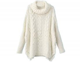 Sheinside women's white turtle neck sweater