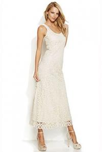 INC International Concepts Petite Sleeveless Crochet Maxi Dress