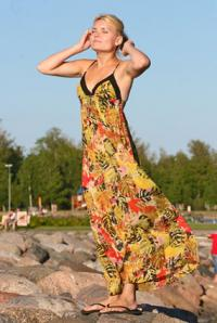 Woman wearing maxi dress