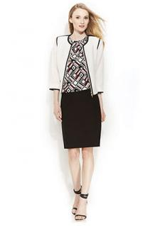 Calvin Klein Contrast-Trim Jacket, Printed Top & Pencil Skirt