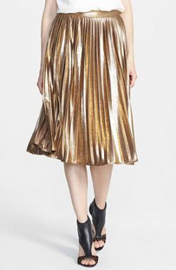 Rules of Etiquette Metallic Pleat Skirt