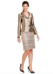 Tahari ASL three button metallic suit