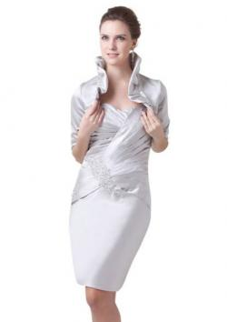 Topwedding Pleated Satin Column Evening Dress with Jacket