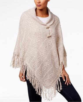 Karen Scott cable knit fringe poncho