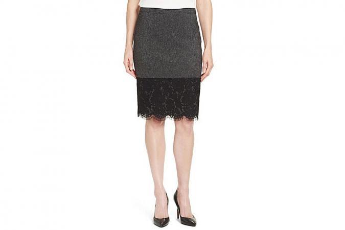Vince Camuto Lace Hem Tweed Pencil Skirt