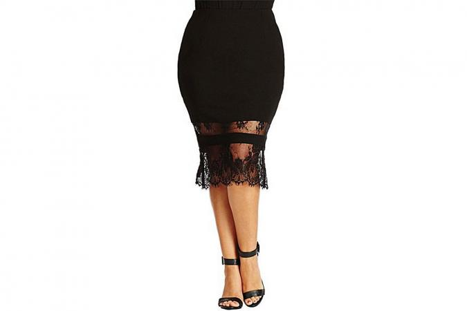 City Chic Lace Hem Midi Tube Skirt