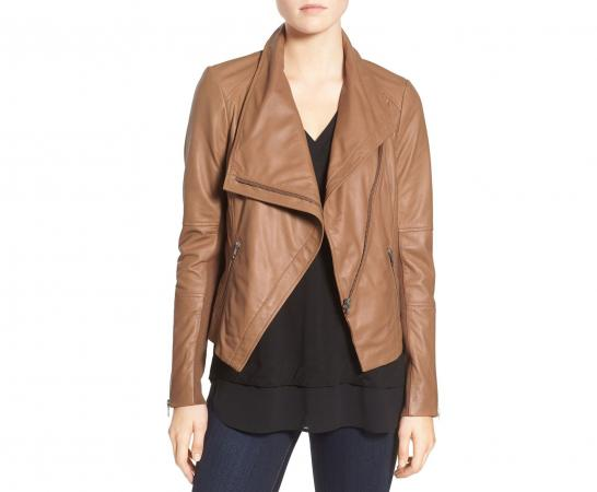 Trouve Leather Drape Jacket