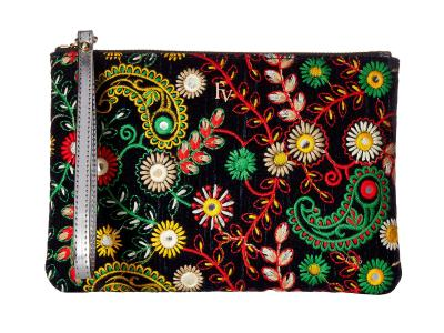 Frances Valentine™ Large Floral Embroidery Zip Wristlet