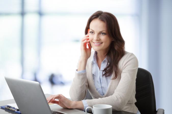 Businesswoman having a phone conversation