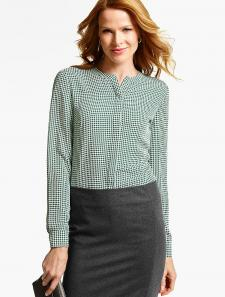 Houndstooth Band-Collar Blouse at Talbots