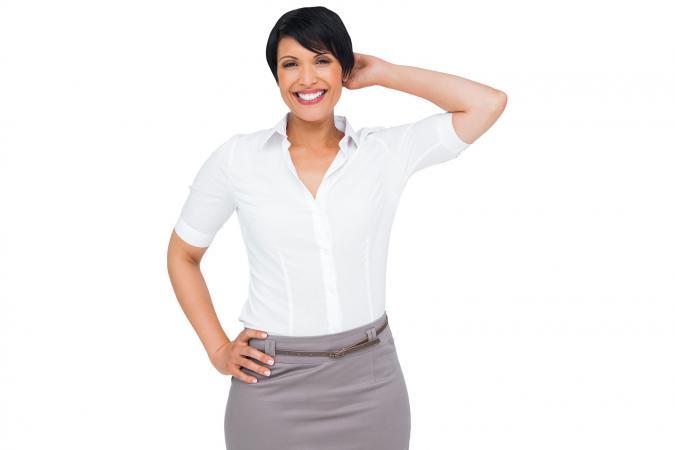 Businesswoman in skirt