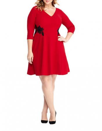 LONDON TIMES Plus Fit-and-Flare Dress
