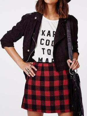 Persun Women's Red Contrast Check Print A-line Mini Skirt