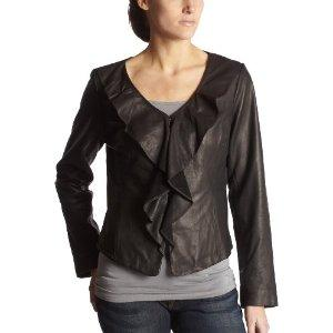 Kenneth Cole Ruffled Leather Jacket