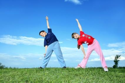 Children practicing yoga