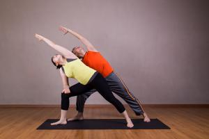 Extended Side Angle yoga partner pose