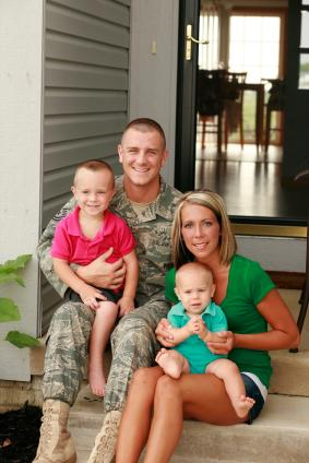 Military Family on Porch