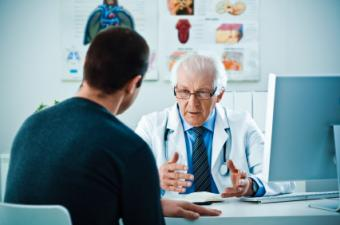 Patient talking with his doctor