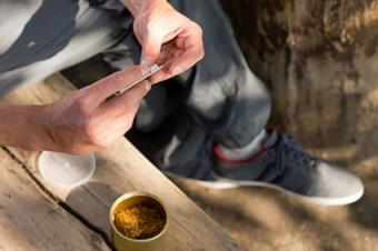 Rolling a medical marijuana joint