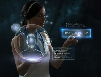 Female doctor doing checkup of human brain