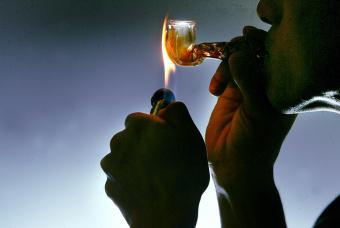 Person Smoking Crystal Meth