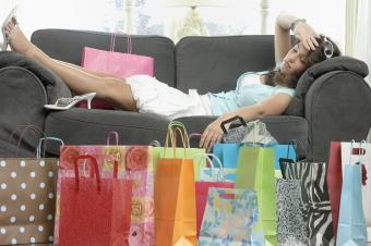 Woman tired after shopping