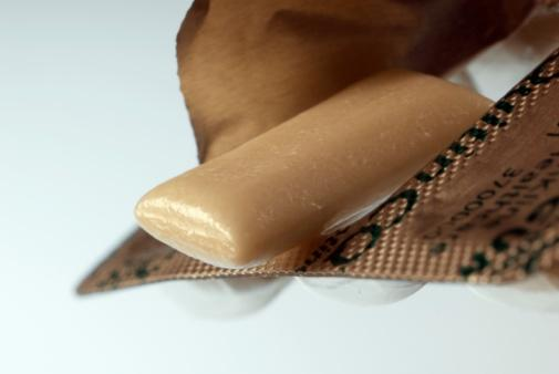 Close-up of nicotine gum