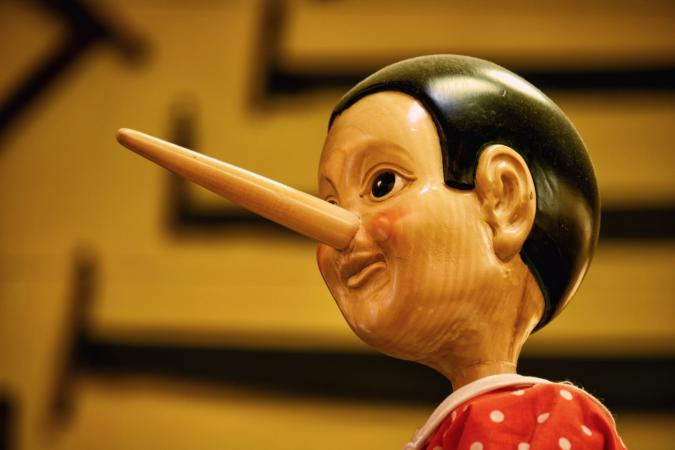 Long nose of liar Pinocchio