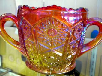 Red carnival glass sugar bowl