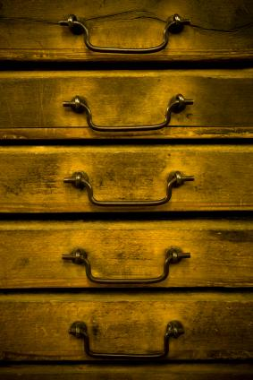 Drawers in a cabinet