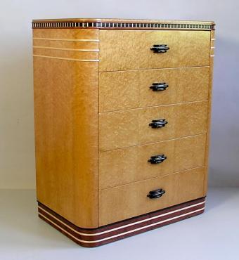 Birdseye Maple Art Deco Dresser by Joel Liebman