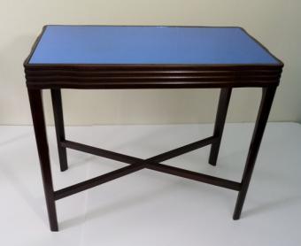Art Deco blue glass mirror top table