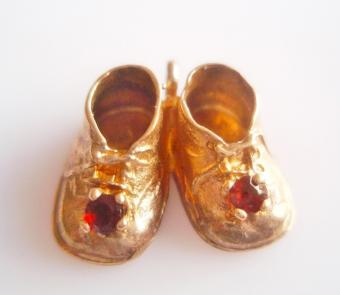 Gold Baby Bootees Charm from True Vintage Jewellery