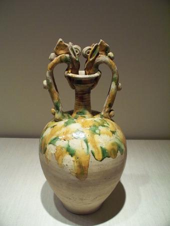 Twin dragon sancai vase