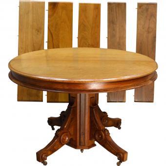 Round Victorian Burl Walnut Dining Table