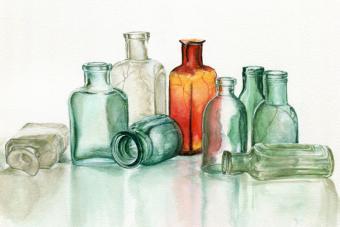 Cracked glass bottles