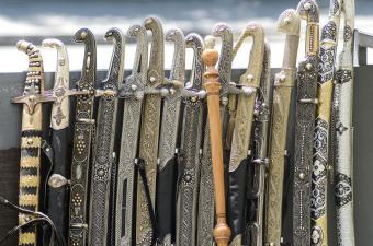 row of ancient swords