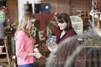 Women shopping in an antique store